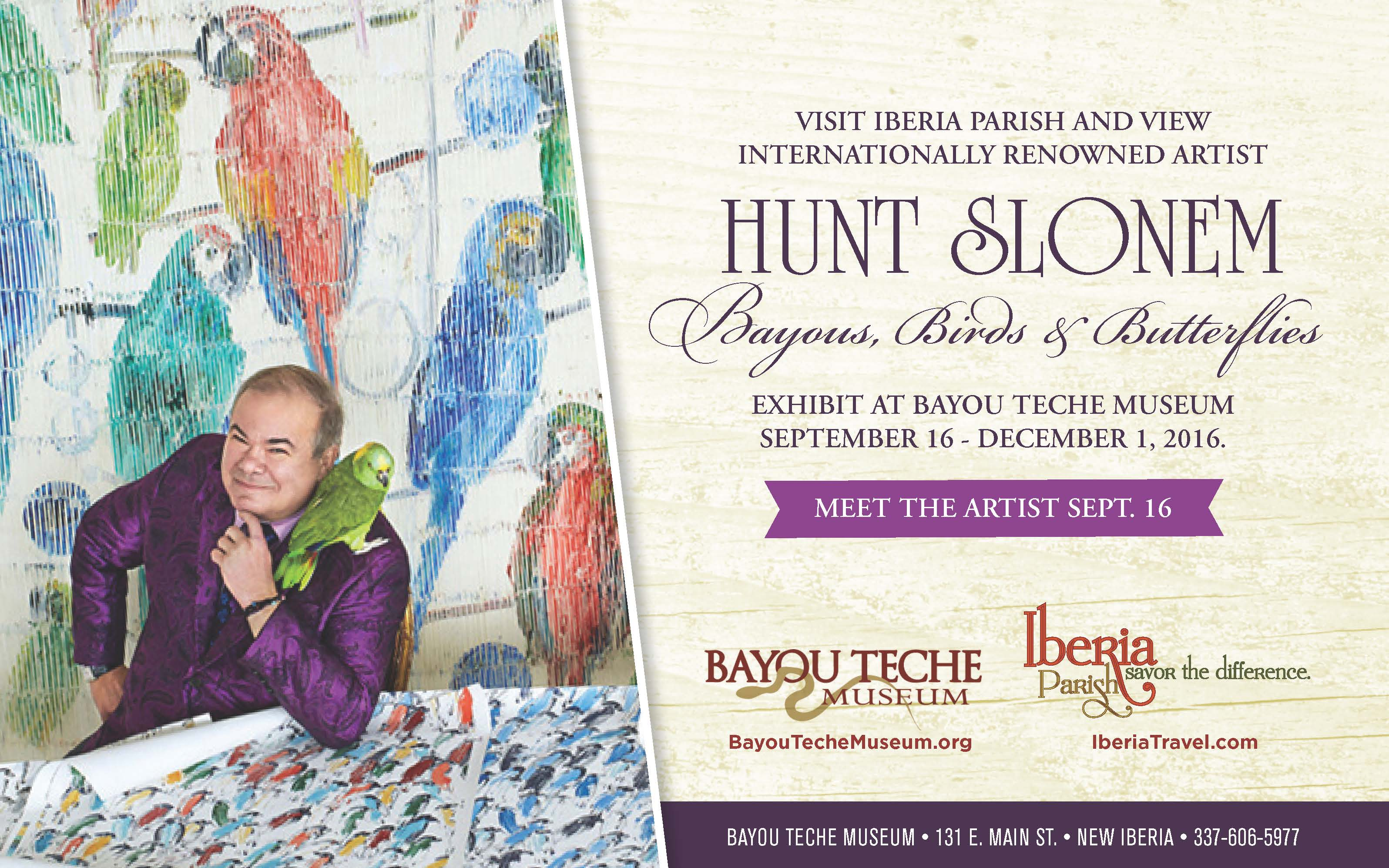 Hunt Slonem Exhibit at Bayou Teche Museum
