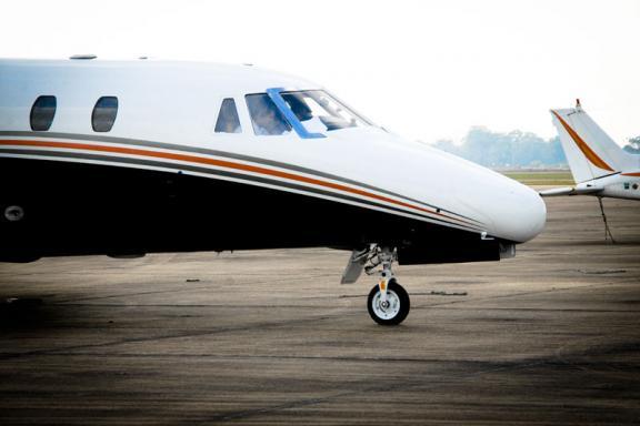 Airplane on Runway at Acadana Regional Airport in Iberia Parish - Courtesy of Iberia Parish CVB